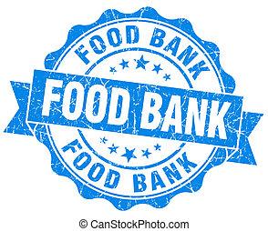 青, グランジ, 食物, 隔離された, シール, 白, 銀行