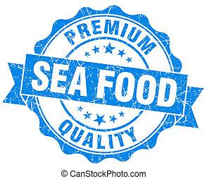 青, グランジ, 食物, 隔離された, 海, シール, 白
