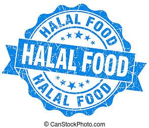 青, グランジ, 食物, 隔離された, halal, シール, 白