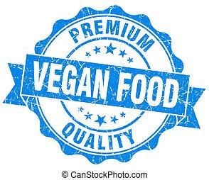 青, グランジ, 食物, 隔離された, vegan, シール, 白