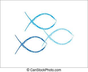青, グランジ, fish, キリスト教徒, シンボル