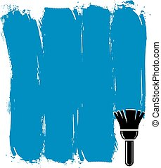 青, グランジ, illustration., 作成される, 壁, ブラシストローク, ベクトル, サンプル, 概念, paintbrush., アクリルの絵
