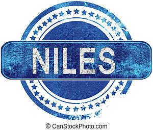 青, グランジ, niles, 隔離された, stamp., white.