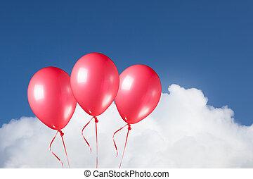 青, グループ, お祝い, 空, 背景, 雲, 風船, 赤