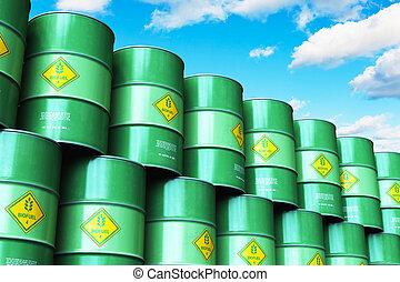 青, グループ, biofuel, 積み重ねられた, 空, に対して, 緑, ドラム, 雲