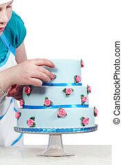 青, ケーキ, 女, 飾る, 3階建てである