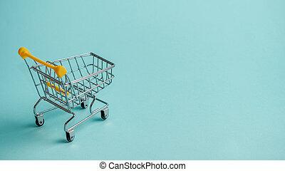 青, コピー, カート, スペース, staggered, 買い物