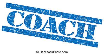 青, コーチ, グランジ, 切手, 隔離された, 広場, textured, 白