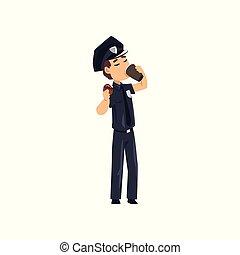 青, コーヒー, 警察, ドーナツ, 警官, 特徴, 隔離された, ユニフォーム, ベクトル, 士官, 背景, 食べること, 白, 飲むこと, 漫画