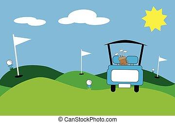 青, ゴルフ, 現場, カート