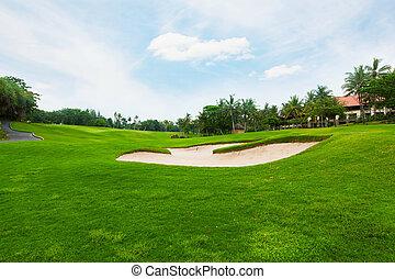 青, ゴルフ, 空フィールド, 下に, 雲, 白