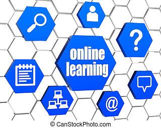 青, サイン, オンラインで, 六角形, 勉強, インターネット