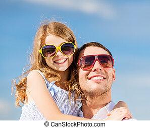 青, サングラス, 父, 上に, 空, 子供, 幸せ
