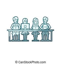 青, シルエット, モデル, 色, 男性, 装置, チームワーク, 机, 影で覆うこと, 技術, 女性