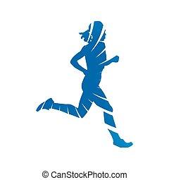 青, シルエット, 抽象的, 動くこと, ベクトル, 女, run.