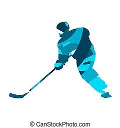 青, シルエット, 抽象的, player., 氷, ベクトル, ホッケー