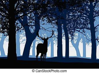 青, シルエット, 空, 鹿, イラスト, 落葉性, ベクトル, 森林