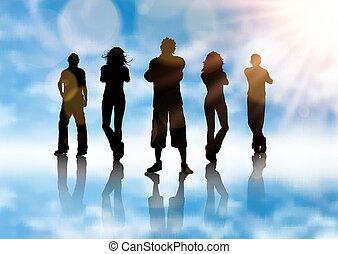 青, シルエット, 背景, グループ, 人々, 空