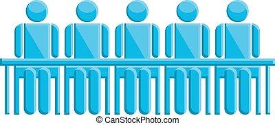 青, シンボル, ミーティング, ビジネス 人々