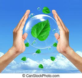青, シンボル, 空, に対して, clouds., 環境, protection., 泡