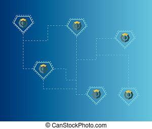 青, シンボル, blockchain, 背景, komodo