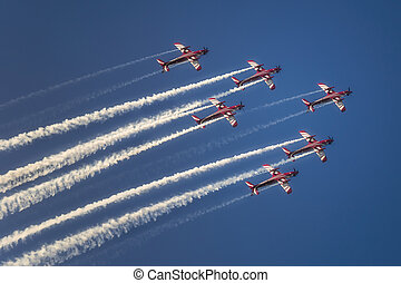 青, ジェット機, 飛行, 空, 反応, 飛行機, 形成