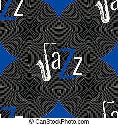 青, ジャズ, 単語, 青, elements., -, concept., j, pattern., seamless, jazz., レコード, saxophone., 黒, ビニール, 背景, 手紙, 白