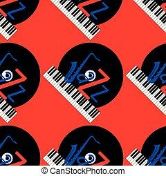 青, ジャズ, 単語, elements., jazz., -, concept., j, pattern., seamless, レコード, saxophone., 黒, ビニール, 背景, キーボード, 手紙, ピアノ, 赤, 赤