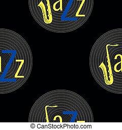 青, ジャズ, 単語, elements., jazz., -, concept., j, pattern., seamless, 黄色, レコード, saxophone., 黒, ビニール, 背景, 手紙