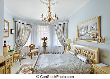 青, スタイル, クラシック, 色, 贅沢, 寝室, 内部, 銀