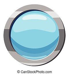 青, スタイル, ボタン, 漫画, アイコン, ラウンド