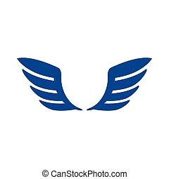 青, スタイル, 単純である, アイコン, 対, 翼