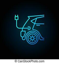 青, スタイル, 概念, 電気 車, ベクトル, 線, アイコン