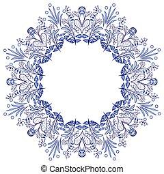 青, スタイル, 花, フレーム, pattern., 隔離された, white., gzhel, 花, ラウンド