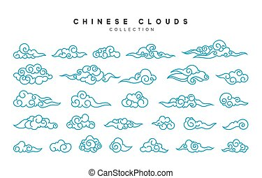 青, スタイル, 雲, コレクション, 中国語