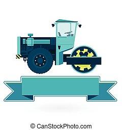 青, スチームローラー, 建造する, 大きい, 機械類, roadroller., works., 建設, white., 道, ローラー, 地面