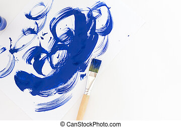 青, ストローク, 抽象的, 水彩画のペンキ, ブラシ, 背景, 白, paper.