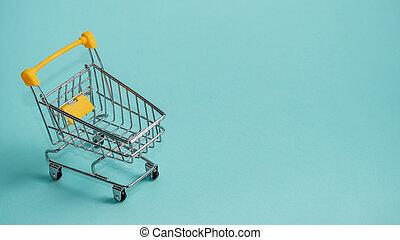 青, スペース, 買い物, staggered, コピー, カート