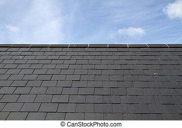 青, スレート, 空, 屋根, に対して