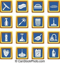 青, セット, アイコン, ベクトル, 広場, 清掃