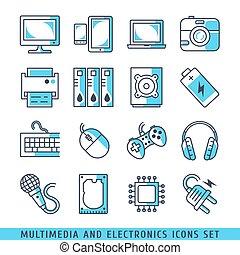 青, セット, アイコン, マルチメディア, ライン, イラスト, ベクトル, エレクトロニクス