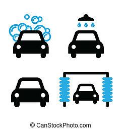 青, セット, アイコン, 洗車場, 黒
