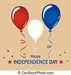 青, セット, アメリカ, balloon, 赤い白, 日, 独立, 祝福