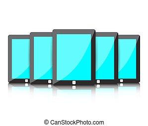 青, セット, スクリーン, ブランク, タブレット, デジタル