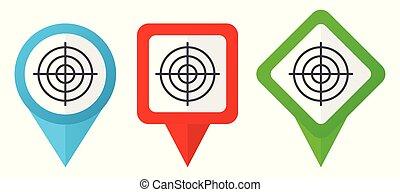 青, セット, ターゲット, カラフルである, ポインター, 背景, 隔離された, icons., edit., ベクトル, 緑, 位置, 容易である, 白い赤, マーカー