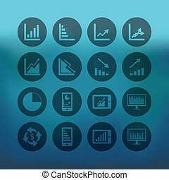 青, セット, ビジネス, グラフ, 背景, 円, アイコン