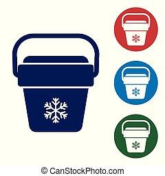 青, セット, ポータブル, アイコン, 袋, 冷却器, 隔離された, イラスト, バックグラウンド。, buttons., ベクトル, フリーザー, 白, ハンドヘルド, bag., 円, 色, refrigerator.