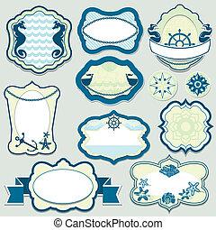 青, セット, ラベル, -, 主題, フレーム, 色, 要素, デザイン, 海洋, バッジ
