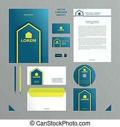 青, セット, レモン, card., ビジネスの色, 決め付けること, template., カバー, ブランク, 企業イメージの統一戦略, フォルダー