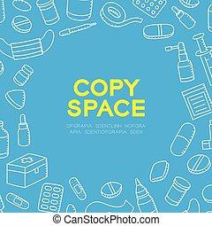 青, セット, 子供, 中心, スペース, 色, パターン, 図画, 隔離された, イラスト, 手, 装置, 形, 背景, 背景, 薬, 円, コピー, 白